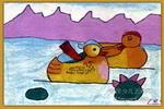 鸳鸯油画棒儿童画