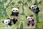 快乐的熊猫儿童画作品欣赏