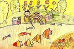 我和爸爸钓鱼儿童画图片