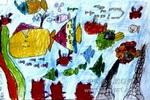 漂亮的小鱼油画棒儿童画