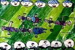 我爱世界杯油画棒儿童画