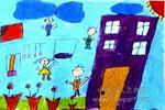 我们的学校油画棒儿童画