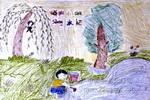 我给小树送水喝儿童画