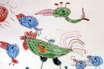 鸡宝宝学本领儿童画作品欣赏