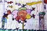 蜜蜂与花朵儿童画