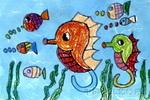 游啊游儿童画2幅