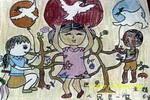世界人民是一家儿童画