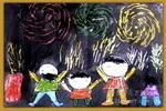 儿童画 焰火/夜晚的焰火儿童画