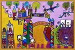 幼儿园里真快乐儿童画2幅