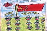 我们爱国旗油画棒儿童画