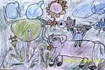 大象背我逛公园儿童画