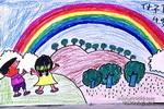 彩虹出来了儿童画2幅
