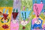白天、晚上都跳舞儿童画作品欣赏