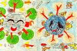 地球的变化油画棒儿童画