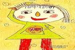 梳头儿童画2幅