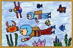 海底探秘儿童画4幅