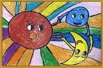 太阳.月亮.地球儿童画2幅