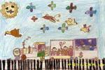 快乐的小火车儿童画