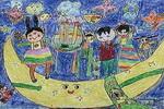 我在月亮上过生日儿童画作品欣赏