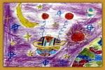 我的太空飞船儿童画2幅