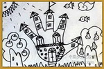太空的房子儿童画