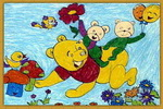 母子游戏儿童画