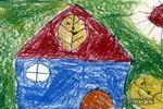我给秋叶盖的房子儿童画作品欣赏