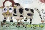 漂亮的奶牛儿童画