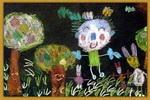 我领小兔参观我家的果园儿童画