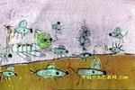 老鼠逗猫油画棒儿童画