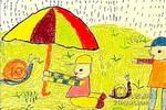 小蜗牛快来避避雨儿童画作品欣赏