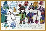我爱冬天油画棒儿童画