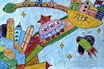 月球幼儿园儿童画