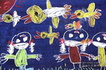 看鸟的小孩子儿童画作品欣赏