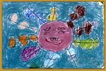 太阳公公和果串串儿童画