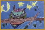 夜晚的猫头鹰儿童画
