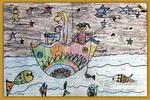 神奇的花伞儿童画