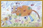 小牛唱歌儿童画