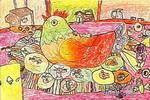 鸡妈妈的一家儿童画作品欣赏