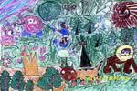 森林里儿童画2幅
