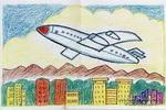 家乡上空的飞机儿童画作品欣赏