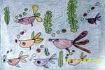 快乐的小鱼儿童画3幅
