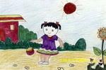 拍皮球油画棒儿童画