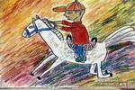 我骑小白马儿童画图片