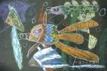 鱼儿游游儿童画2幅