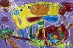 我弟弟外星人和飞船儿童画