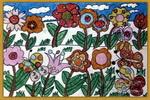 茂密的花油画棒儿童画