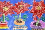 圣诞花儿童画作品欣赏