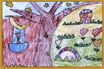 宁静的夜油画棒儿童画