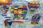 空中的旅行儿童画